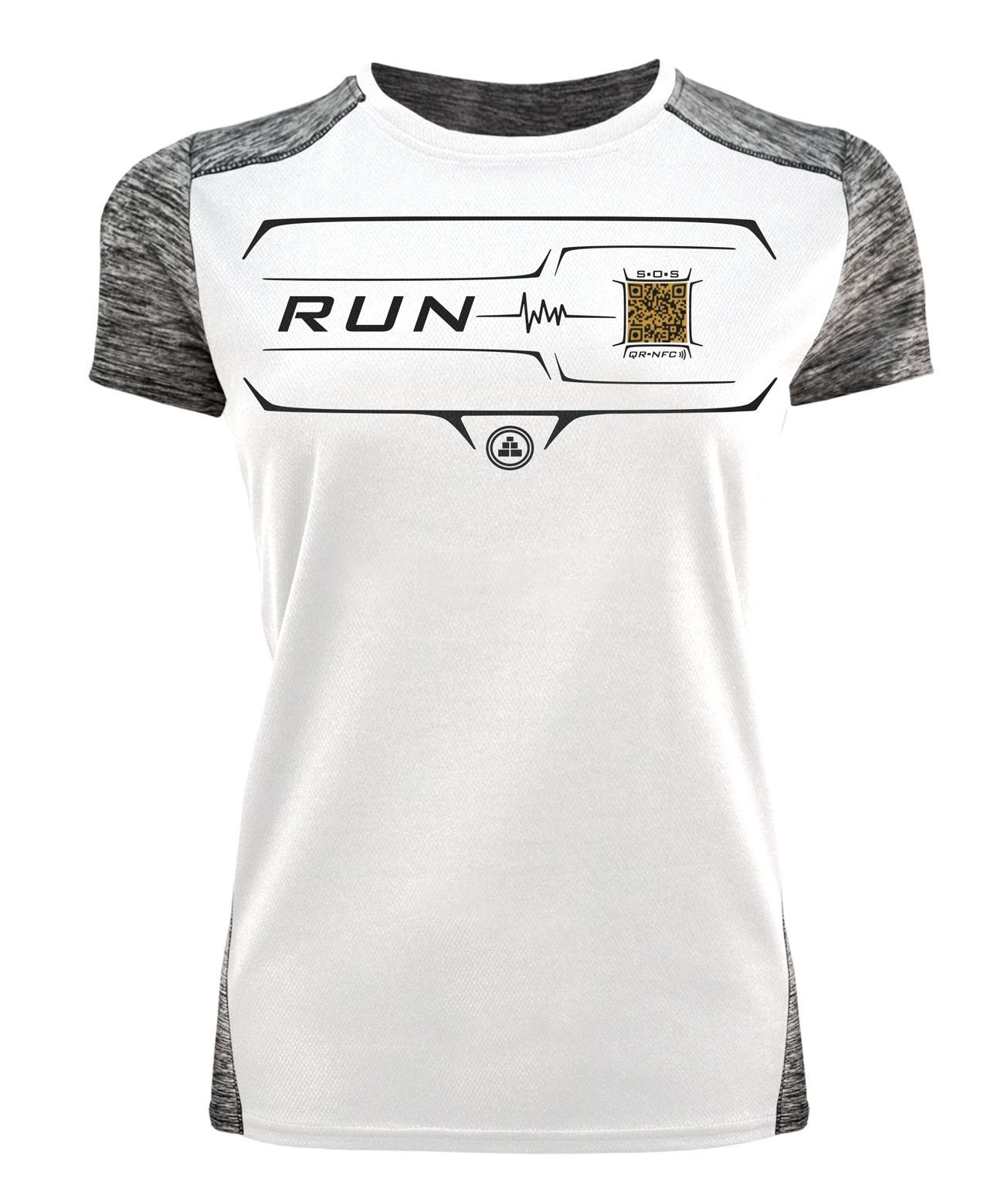 Camiseta deportiva contactless QR mujer en color blanco